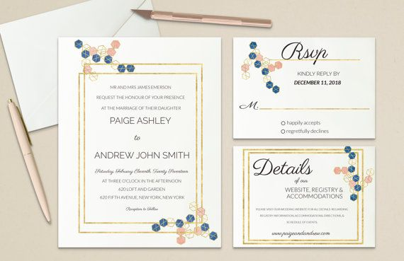 REPIN NOW for later!! Navy Gold Blush Wedding Invitation Suite Modern by IndahLeiba
