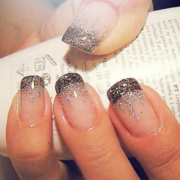 Black French manicure and silver glitter like icicles