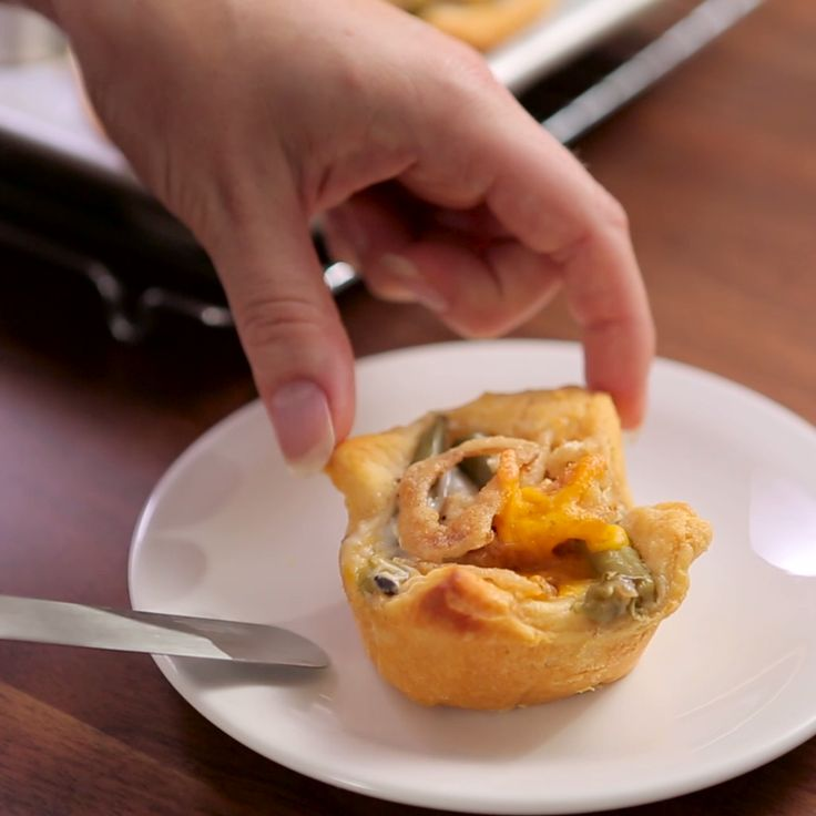 This personal-size twist on a green bean casserole is the perfect way to serve up everyone's favorite side. Green Bean Casserole Crescent Cups are super easy to make and are the perfect appetizer for sharing. Bring to all your parties and holiday gatherings for a guaranteed hit!
