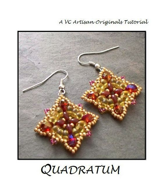 Bead Pattern, Bead Tutorial, Twin Bead Earrings pattern,  SuperDuos, Step by Step with Detailed Diagrams, Quadratum