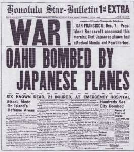12/7/13 . .  . Pearl Harbor was attacked on this date in 1941