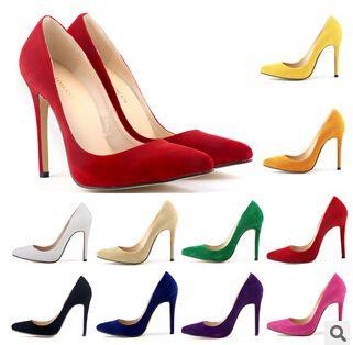ЛЕТОМ СТИЛЬ каблуки женская обувь 2015 сексуальная мода ол шпильках указал toe высокие каблуки ПЛЮС РАЗМЕР Club обувь насосы 12 цвета выбрать
