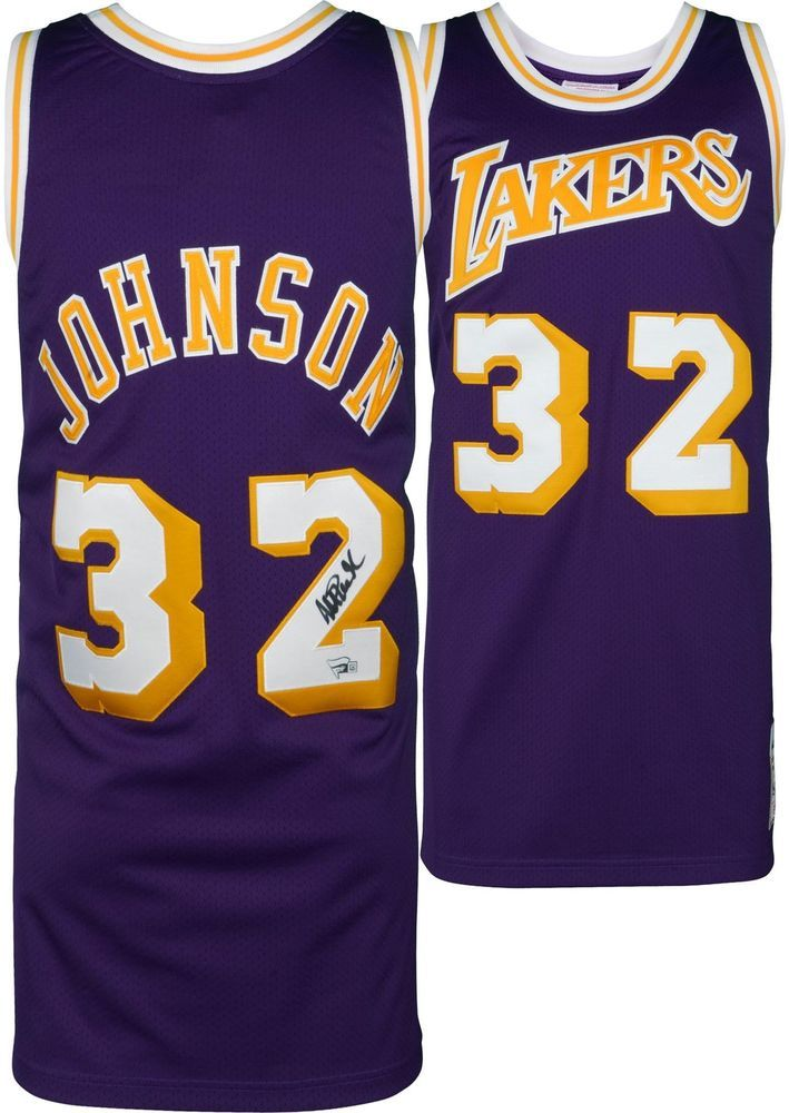 ccbcde48304 Magic Johnson LA Lakers Signed Purple Mitchell & Ness Authentic Jersey  #sportsmemorabilia #autograph #basketballjersey