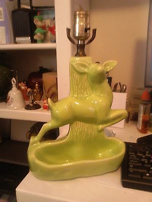 Vintage  Youthu0027s Or Infants Lime Green Animal   Deer Ceramic Lamp