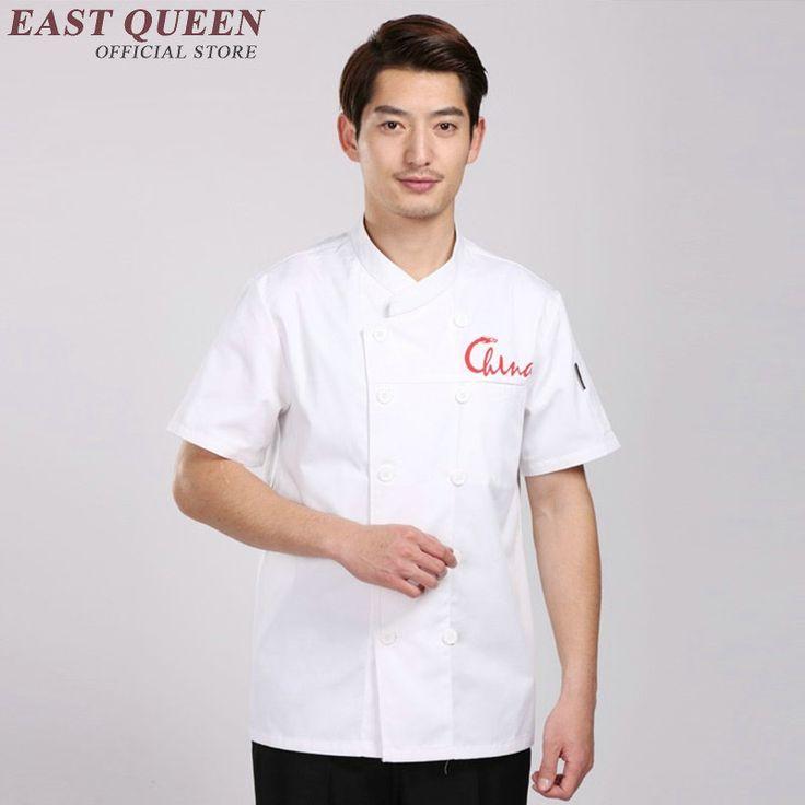 Restaurant uniform shirt cook uniform food service men kitchen clothes white hotel summer chinese restaurant uniforms  AA738