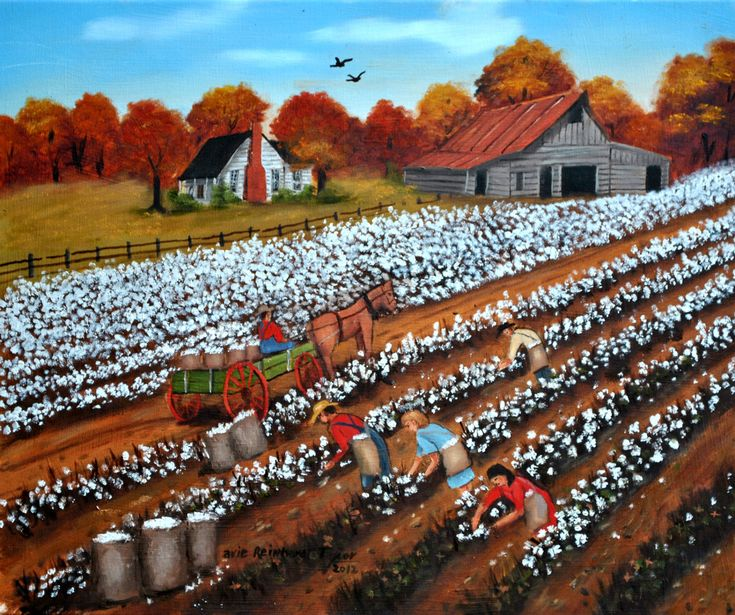 Cotton Picking Pickers Field Original Oil Painting Framed Folk Art Carolina Country Scene Barn Farm House Autumn Wagon Horse Arie Taylor by jagartist on Etsy