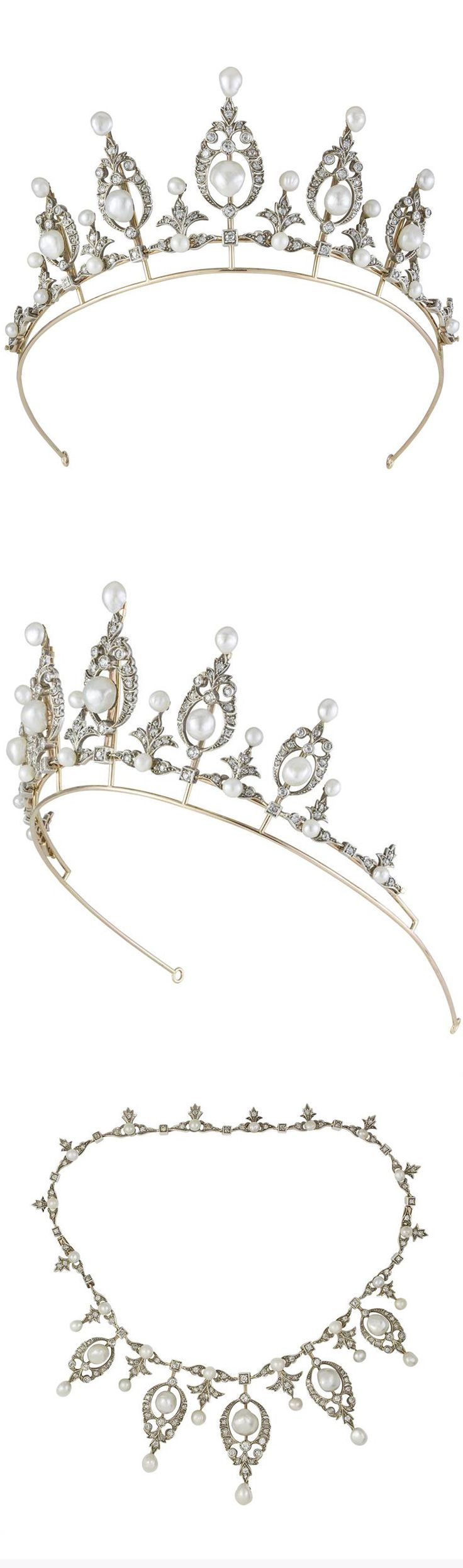 A late Victorian pearl and diamond tiara, the tiara comprising five graduated pearl and diamond clusters of an openwork scrollwork motif with natural pearl tops, diamond- and natural pearl-set floral motifs inbetween each to a gold frame, with a necklet chain of graduated pearl and diamond links with diamond drops, all of a foliate design, a diamond set within a square collet between each one, all diamonds estimated to weigh a total of 5.20 carats.