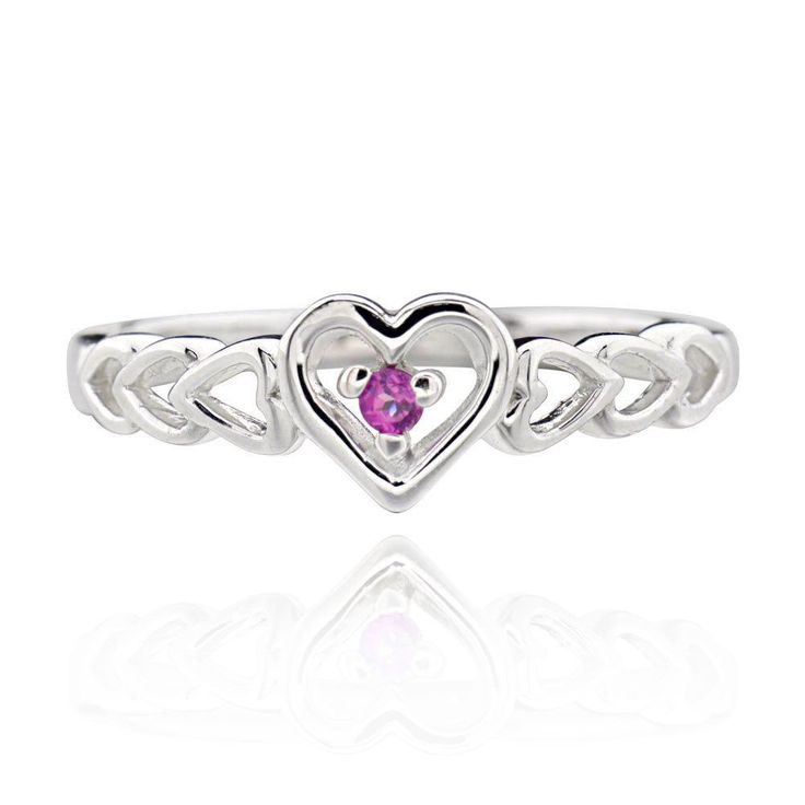 FD Sterling Silver Round Rhodolite Multi Heart Linking Ring (China) (Ring Size 8), Women's, White (Metal)