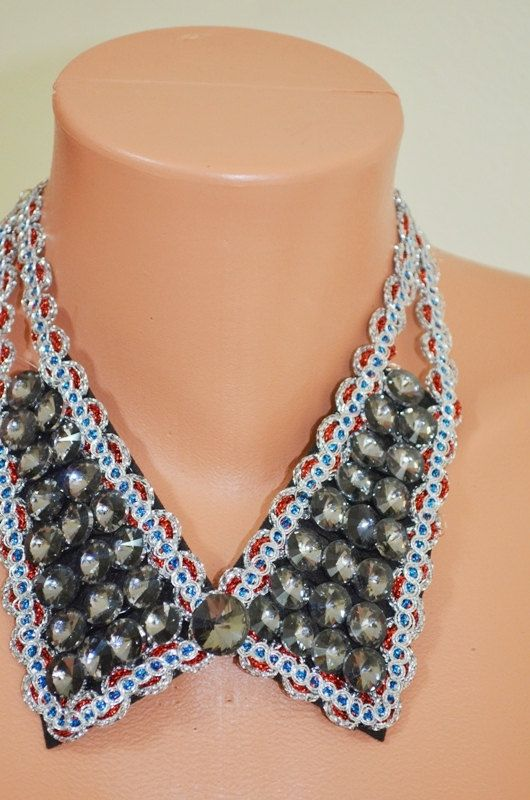Silver Crystal collar necklace. Silver blue by DesignJewelryByAnna, $25.00