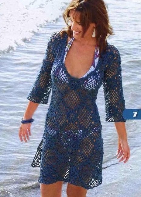swim cover up pattern in French with diagram (tunique marine aux motifs carrés)