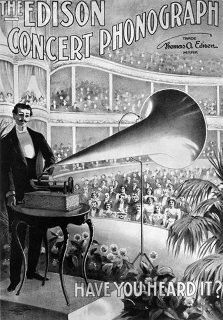 Poster advertising the Edison Concert Phonograph. Illustration depicts a conductor playing a recording in front of a large concert hall audience, 1899.