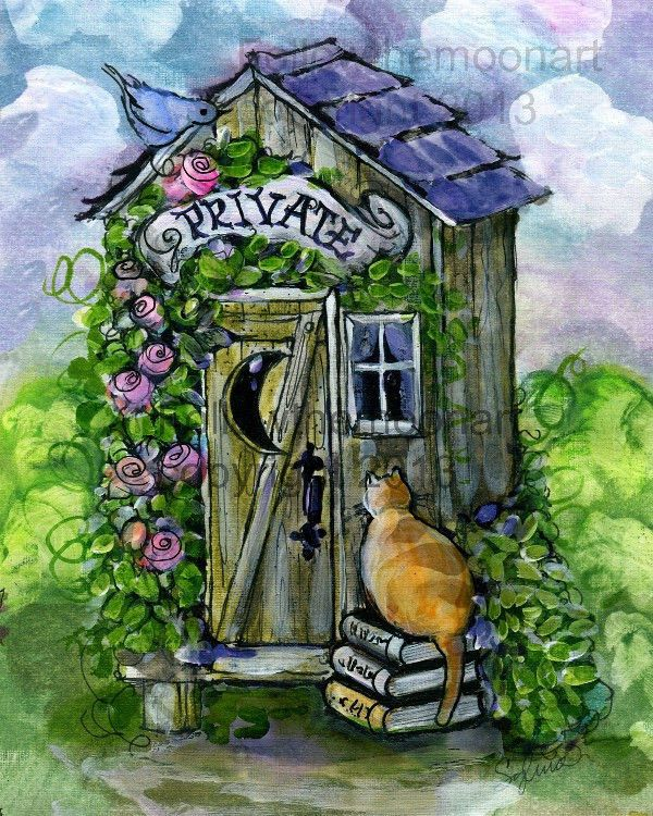 Private Cat Bath Flowers Outhouse Kitty Bird Bathroom Roses Wall Art Print FTMA #unframed