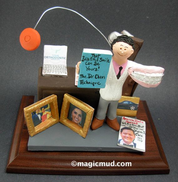 Dentist with Braces Gift  www.magicmud.com    1 800 231 9814    magicmud@magicmud.com $225  Personalized #Dental Gift Figurines, custom created just for you!    Perfect present for all #Dentist,  male or female, a gift for birthdays, graduations, anniversaries, new office openings, retirement,  as a thank you to a great dentist!  Prosthodontist, Periodontist, Oral Surgeon, Endodontist, Oral Hygienist, Pedodontist, Dental Assistant, General Dentist,  any occupation made to to order by…