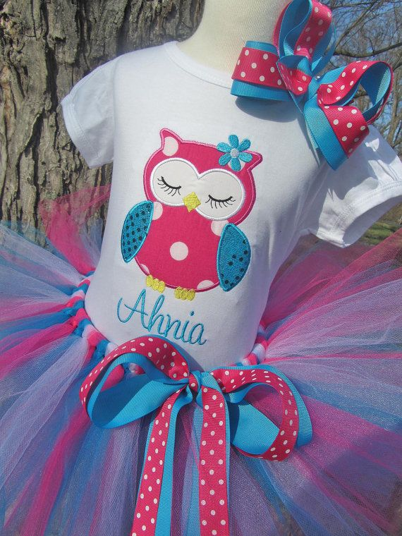 Girly Owl Birthday Tee with Hot Pink Turquoise by avannabelbaby, $58.00