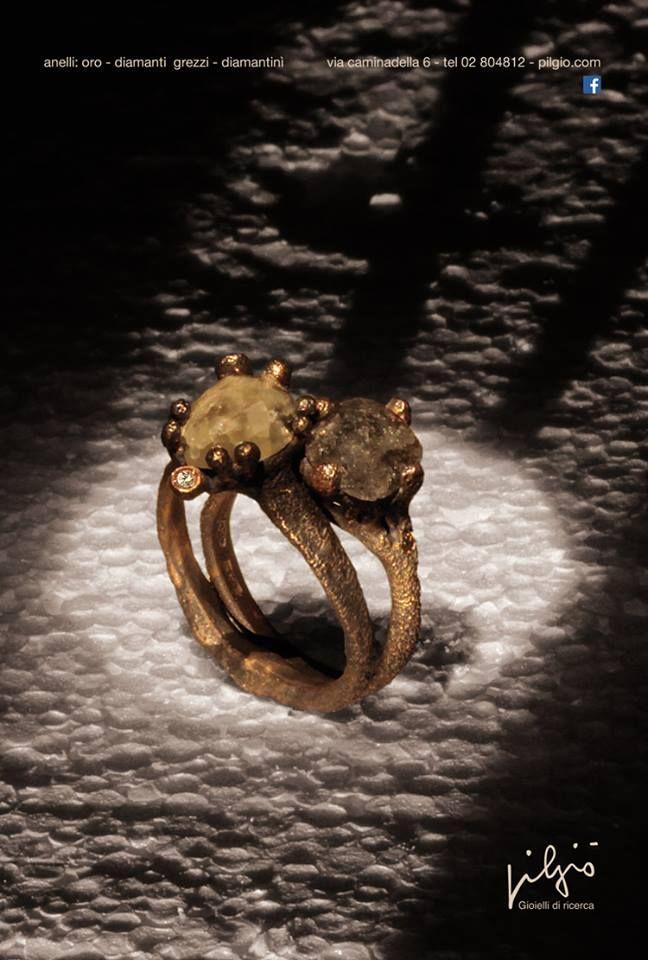 anelli: oro rosso - diamanti grezzi - diamantini | PILGIO'