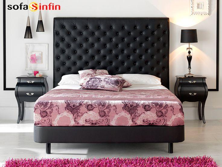 Cabecero de cama tapizado en piel y polipel modelo Leonor fabricado Dupen en Sofassinfin.es