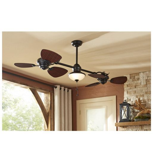 "74"" Indoor  Outdoor Ceiling Fan Dual Fan Heads & Light kit Twin double  #Transitional"