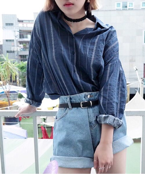 Blue denim collared top + high waisted light blue denim shorts + black belt