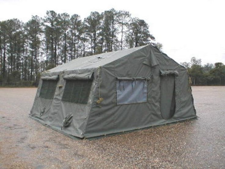 Camouflage green tent, No poles, Fire, mildew, & water resistant, Rectangular floor shape, Length: 16.000ft nomin... - Government Liquidation