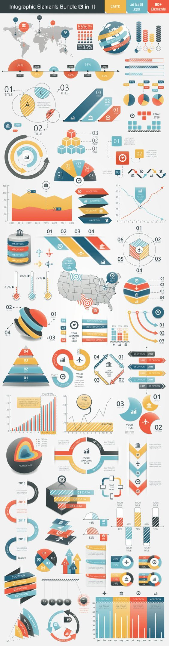 Infographic Elements Bundle (3 in 1) on Behance: