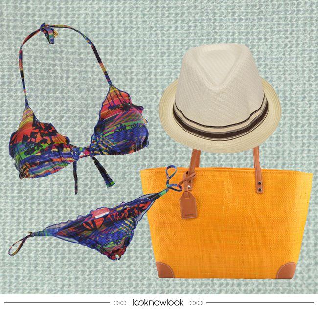Essenciais de Verão! #moda #modapraia #beachwear #verão #calor #praia #piscina #biquíni #chapéu #bolsa #blueman #ellus #shop #ecommerce #compreonline #lnl #looknowlook