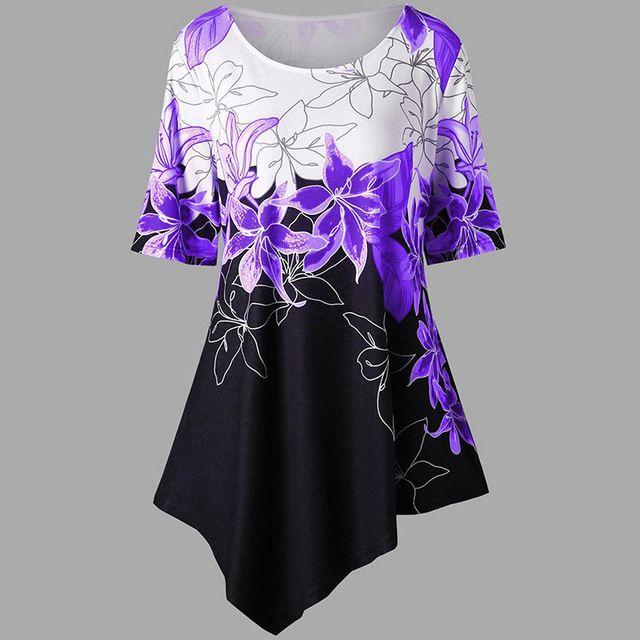 Plus size floral print short dress women summer irregular hem casual bohemian short sleeve beach mini dress vestidos