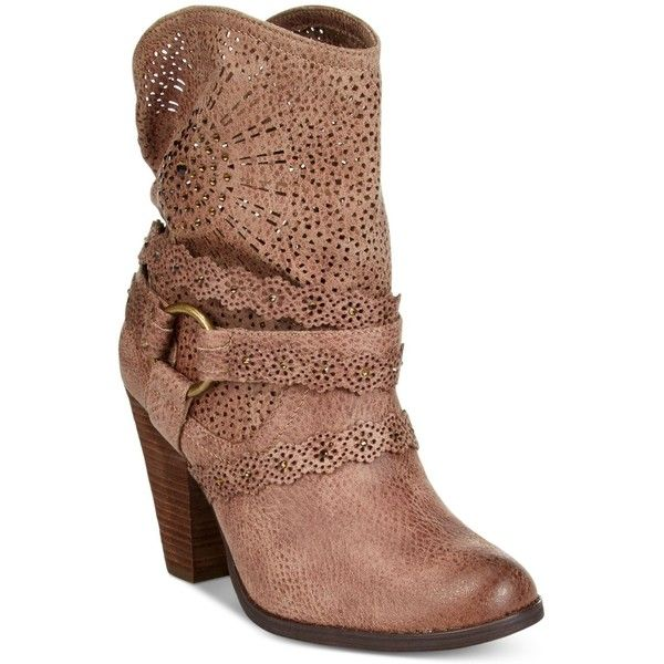Naughty Monkey Adelaide Western Booties ($94) ❤ liked on Polyvore featuring shoes, boots, ankle booties, taupe, taupe boots, short cowgirl boots, taupe bootie, taupe ankle booties and western bootie