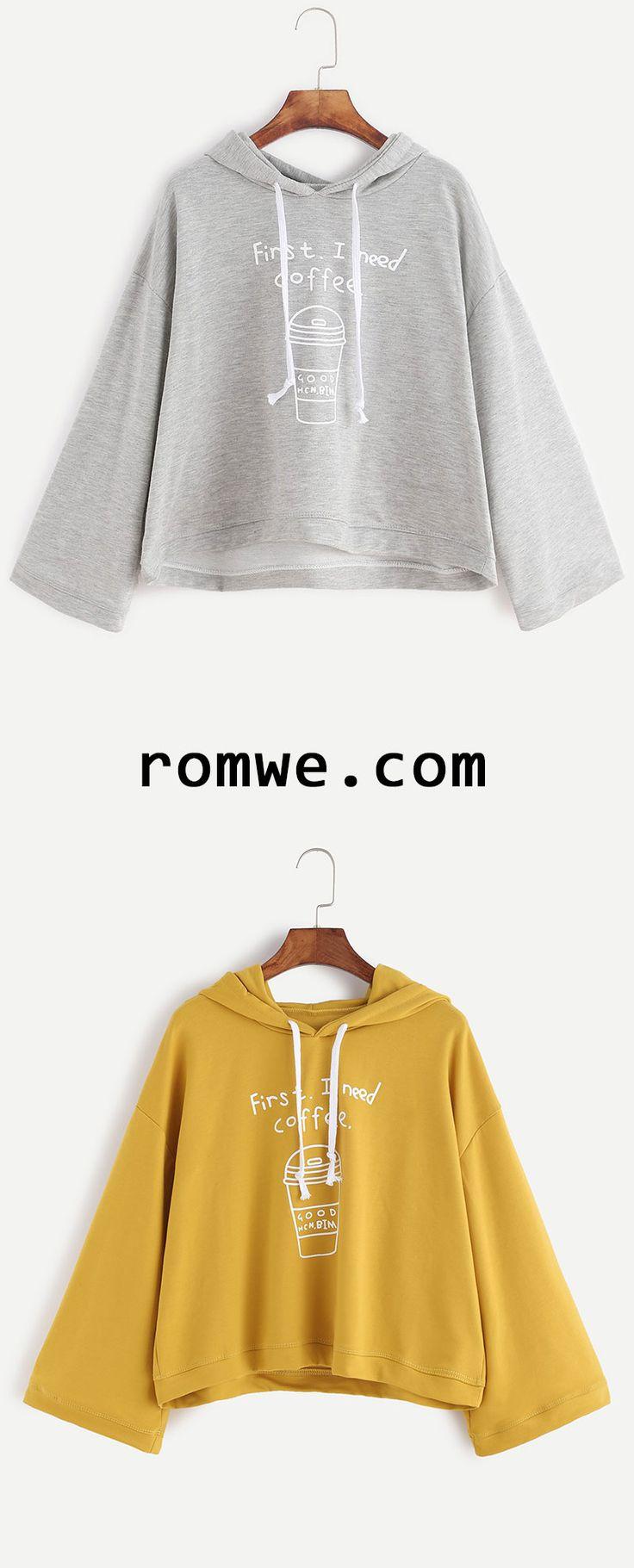 Coffee Cup Print Hooded Sweatshirt