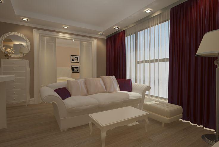 Proiect design interior living apartament cu 2 camere in Constanta .