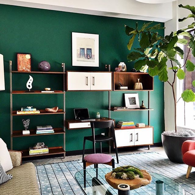 Currently giving us life: our Linden shelves paired with that green wall. 🤗🌳😍 Thanks for the #mywestelm photo, @halcyonworks!