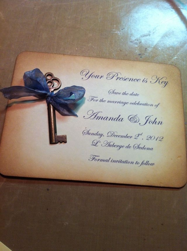 Vintage Key Save the Date Invitations Antique