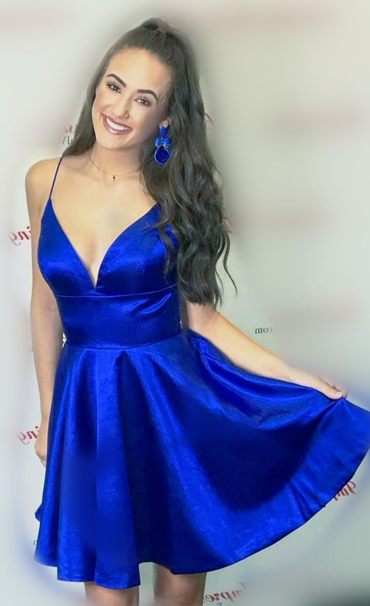 38a34ff914 spaghetti straps short royal blue homecoming dress with v neck and empire