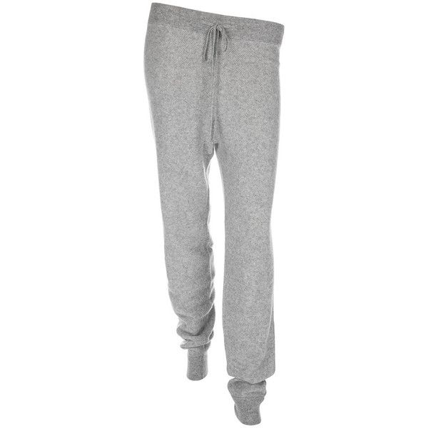 Sofia Cashmere Women's Texture Lounge Trousers - Grey ($245) ❤ liked on Polyvore featuring intimates, sleepwear, pajamas, sofia cashmere, cashmere pajamas, long pajamas and cashmere loungewear