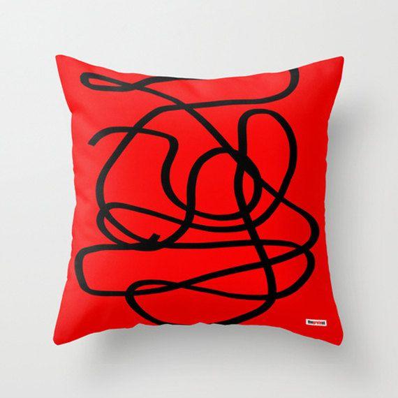 Decorative couch throw pillow cover - red throw pillows for sofa - designer contemporary pillow case - Modern Euro sham decorative pillow