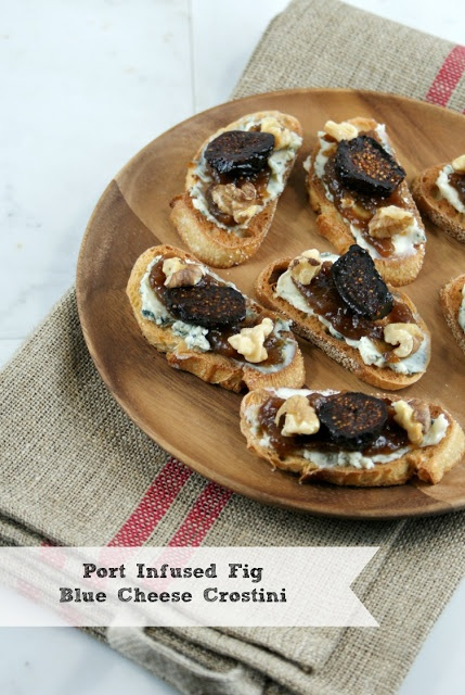 Authentic Suburban Gourmet: Port Infused Fig Blue Cheese Crostini | Friday Night Bites