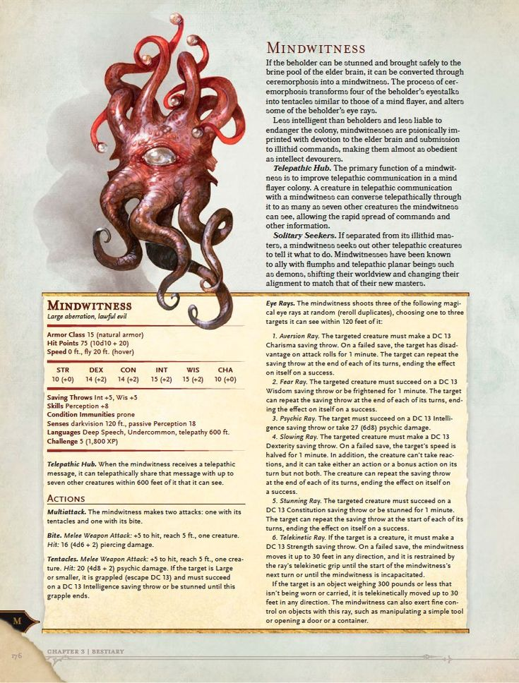 Volo's Guide to Monsters - Mindwitness | Book cover and interior art for Dungeons and Dragons Next (5.0) - Dungeons & Dragons, D&D, DND, 5.0, 5th Edition, Next, Roleplaying Game, Role Playing Game, RPG, Game System License, GSL, Open Game License, OGL, Wizards of the Coast, WotC | Create your own roleplaying game books w/ RPG Bard: www.rpgbard.com | Not Trusty Sword art: click artwork for source
