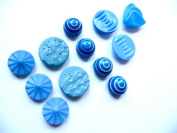 Vintage Blue Buttons Retro Modern Buttons