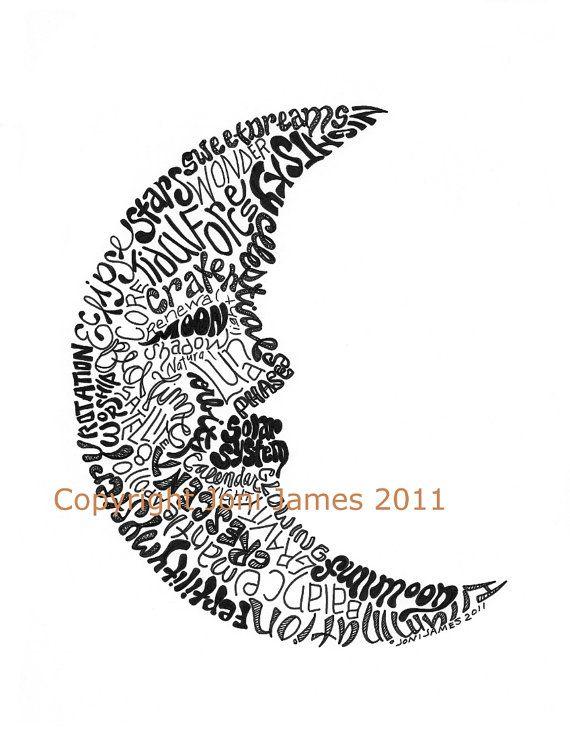 Crescent Moon Word Art Calligram Moon Art Typography Or