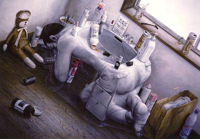 Tetsuya Ishida (1973-2005) painted an extensive series of scenes depicting ordinary Japanese life