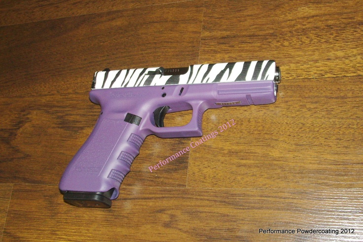 Glock 22 .40cal - SUPER GIRLY with Zebra Hydrographics and Purple Cerakote. Fabulous.
