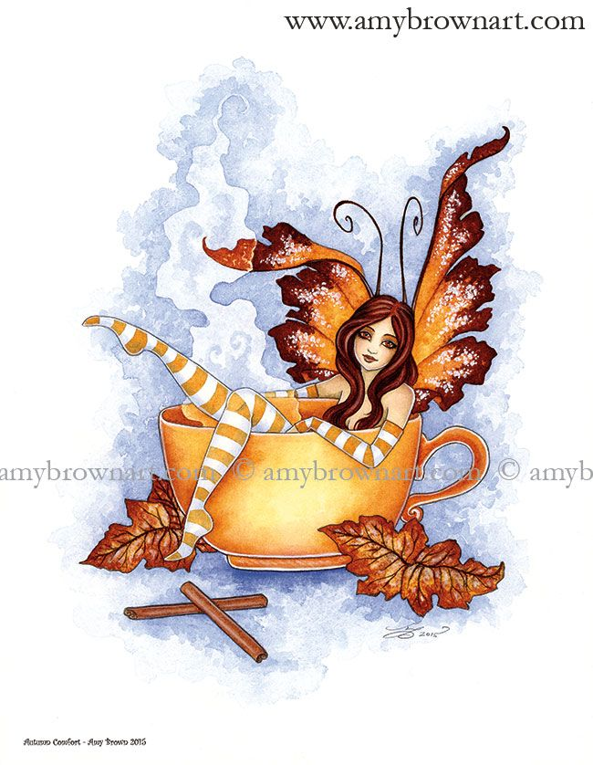 Autumn Comfort  PRINTS-OPEN EDITION - Coffee and Tea Faeries - Amy Brown Fairy Art - The Official Gallery