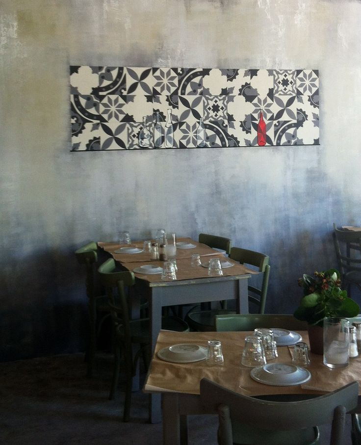 """Painted traditional faux tiles on aged wall in a small greek """"taverna"""" (casual restaurant) Color Illusions by Manuela Palinginis for Sissy Raptopoulou"""