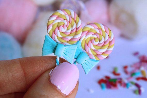 lollipop stud post earrings white pastel pink & by TinkyPinky