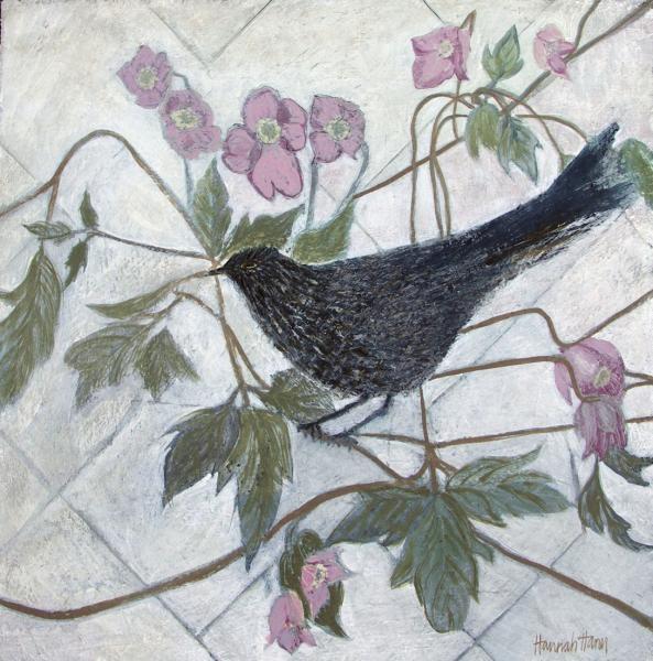 Hannah Hann, Clematis and Blackbird | Lena Boyle Fine Art