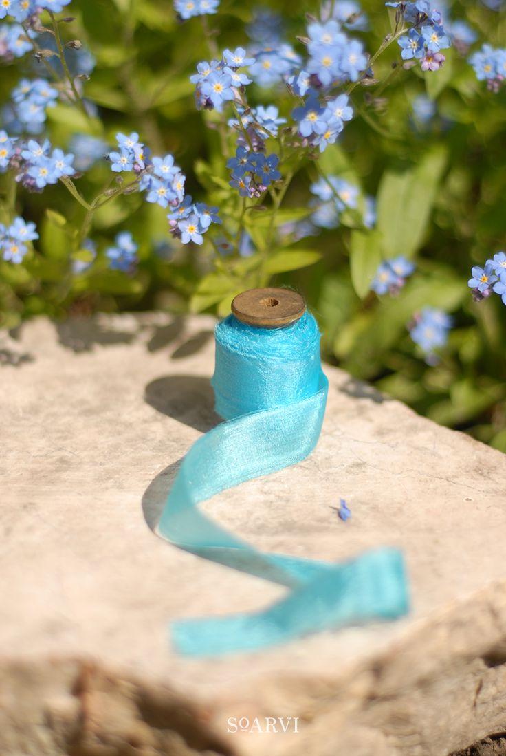 Feathered habotai silk ribbon in 'ODONATA' - 10 metres of handmade and hand-dyed 100% habotai silk ribbon on wooden spool  Sky blue handmade silk ribbon
