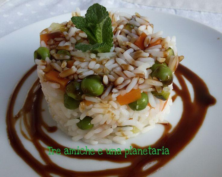 Riso agrodolce e verdure al vapore con glassa di salsa di soia