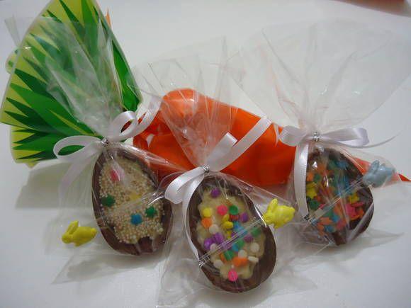 Mini casca de ovo de páscoa em chocolate Ao Leite recheada de Brigadeiro/Prestígio a escolher.