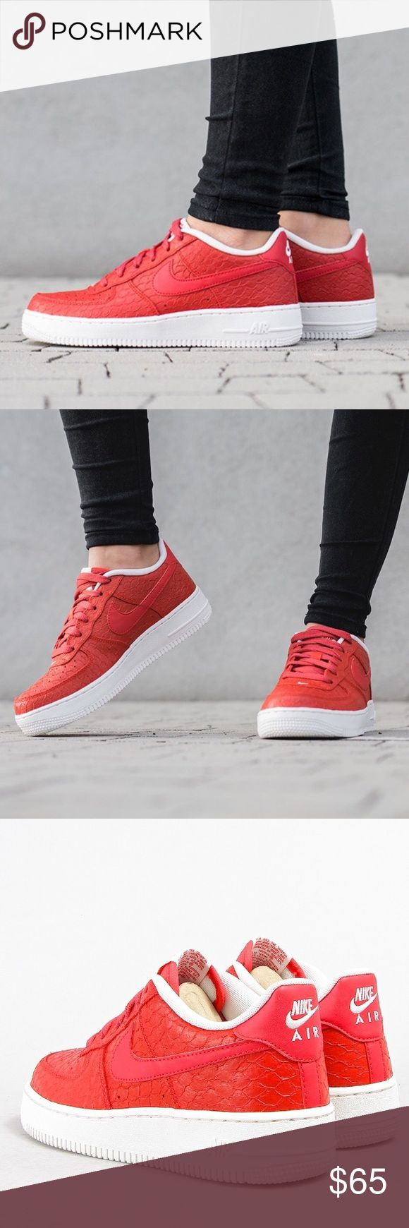 NIKE AIR FORCE 1 LV8 PREMIUM RED BRAND NEW SHOES Shoes are a size 6 youth which is a women's size 7.5. I added a sizing chart for reference. No box Nike Shoes Sneakers