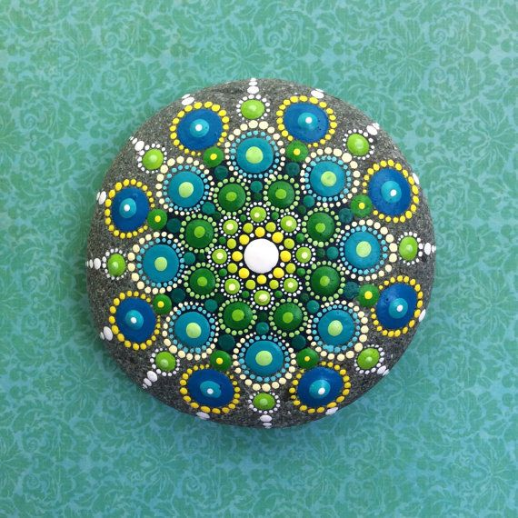 Jewel Drop Mandala Painted Stone ocean dreaming by ElspethMcLean