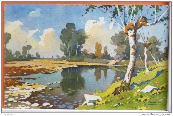 lot 11 x litho illustrateur signé SILVIO BONELLI paysage montagne travail ferme boeuf ane chevaux mouton troupeau etc